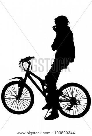 Sport women whit bike on white background