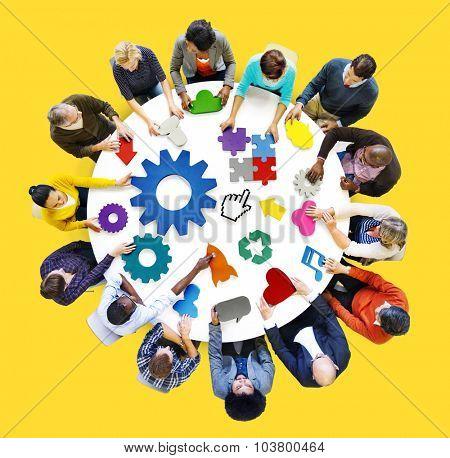 Connection Corporate Teamwork Gear Technology Concept