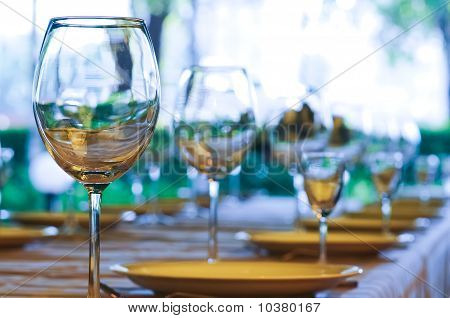Perspective of wineglasses on the table