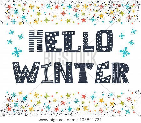 Hello Winter Greeting Card. Winter Concept Card. Cute Postcard With Funny Decorative Elements