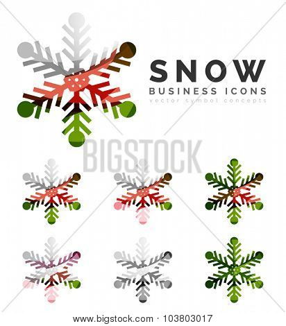 Set of abstract colorful snowflake logo icons, winter concepts, clean modern geometric design. Created with transparent abstract lines