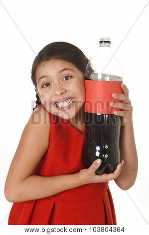 Happy Female Child Holding Big Soda Bottle Against Her Face In Crazy And Over Excited Expression