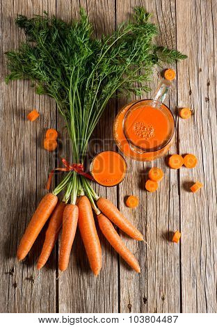 Healthy Food - Carrots And Carrots Juice