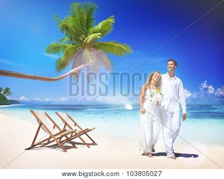 Couple Marriage Beach Wedding Party Happiness Concept