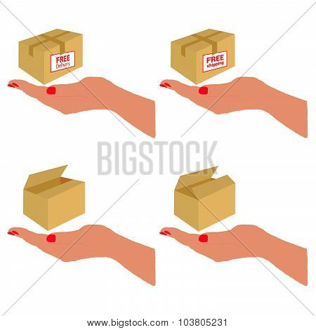 Free Delivery And Shipping On The Box Vector