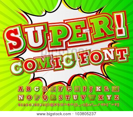 Colorful High Detail Comic Font, Alphabet. Comics, Pop Art