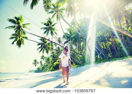Couple Relaxing Beach Summer Vacation Holiday Concept