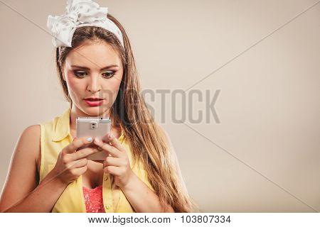 Retro Pin Up Girl Texting.