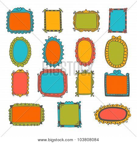 Set Of Hand Drawn Frames. Cute Design Elements. Sketchy Frames And Borders