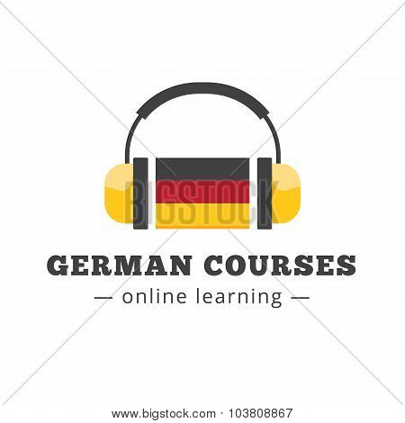 Vector german courses logo concept with flag and headphones