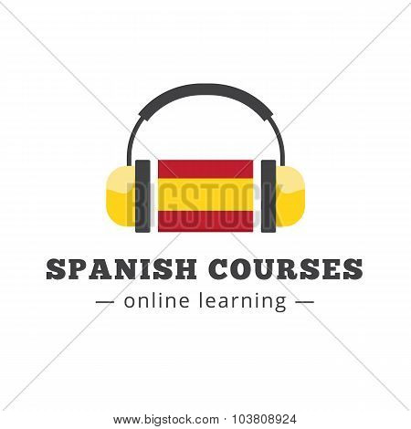 Vector spanish courses logo concept with flag and headphones