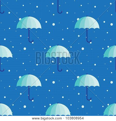 Vector vintage umbrellas seamless pattern. Cute blue winter umbrella background