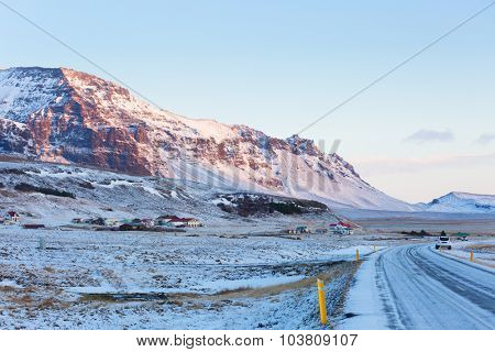 Views from the Ring Road at sunrise. The Ring Road  (Route 1) of Iceland, between Hof and  Jokulsarlon.  South of Iceland