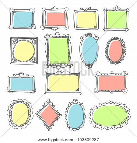 Vector Design Elements. Sketch Of Hand Drawing Frames And Borders