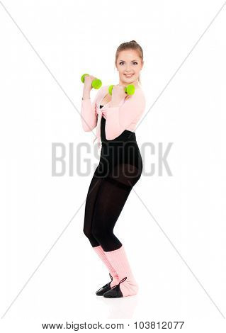 Beautiful fitness girl with dumbbells, isolated on white background