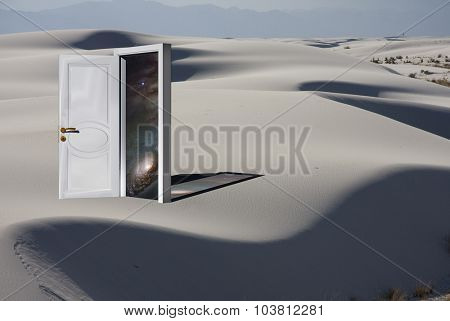 Doorway with Cosmos in White Sand Desert