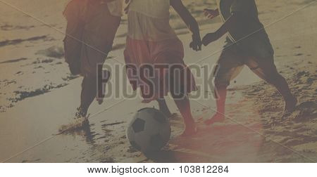 Family Beach Football Holiday Soccer Togetherness Concept