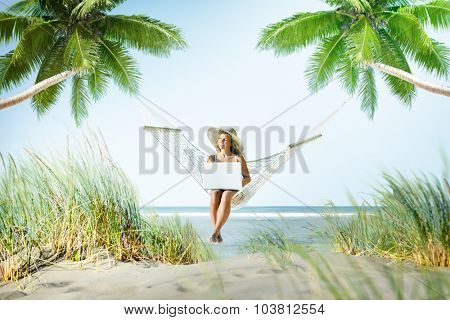 Woman Relaxation Beach Working Enjoyment Concept