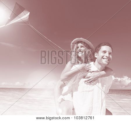 Honeymoon Couple Happiness Summer Beach Concept