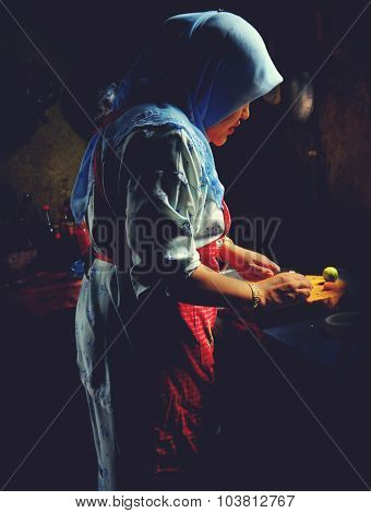 Malaysian Lady Sunlight Prepare Food Kitchen Concept