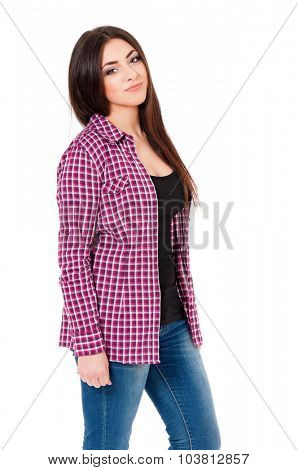 Portrait of beautiful caucasian girl on white background