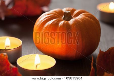 decorative autumn halloween pumpkins and candles