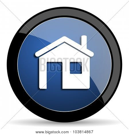 house blue circle glossy web icon on white background, round button for internet and mobile app