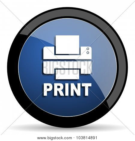 printer blue circle glossy web icon on white background, round button for internet and mobile app