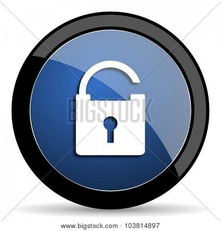 padlock blue circle glossy web icon on white background, round button for internet and mobile app