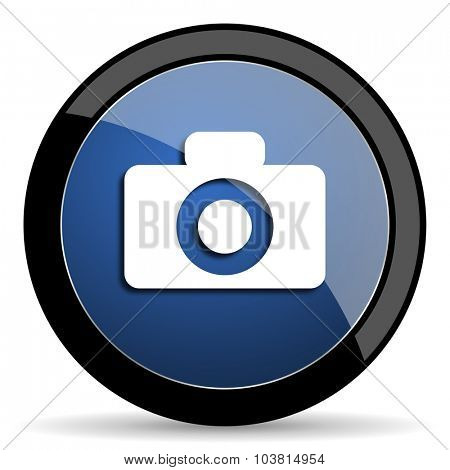 camera blue circle glossy web icon on white background, round button for internet and mobile app