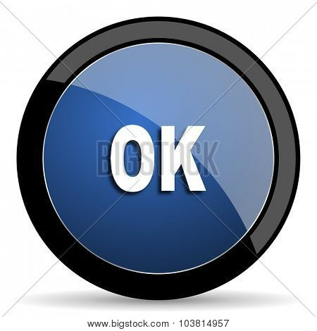 ok blue circle glossy web icon on white background, round button for internet and mobile app