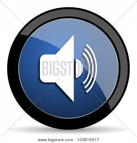 volume blue circle glossy web icon on white background, round button for internet and mobile app