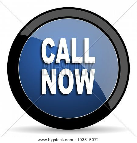 call now blue circle glossy web icon on white background, round button for internet and mobile app