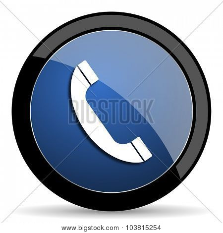 phone blue circle glossy web icon on white background, round button for internet and mobile app