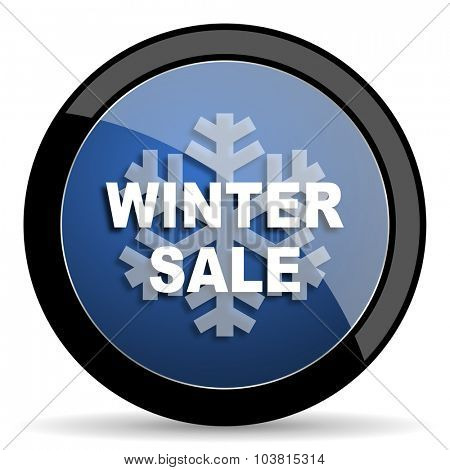 winter sale blue circle glossy web icon on white background, round button for internet and mobile app