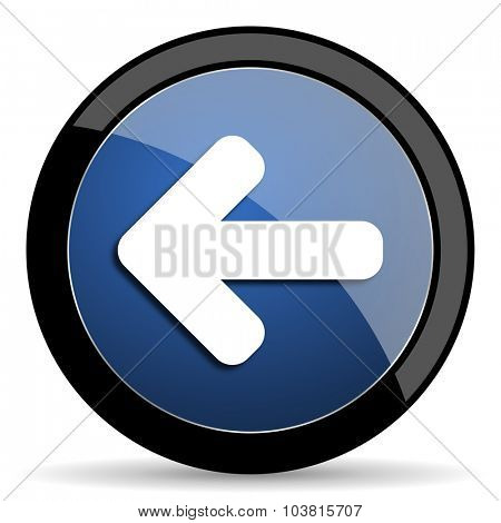 left arrow blue circle glossy web icon on white background, round button for internet and mobile app