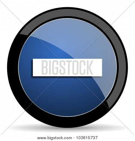 minus blue circle glossy web icon on white background, round button for internet and mobile app