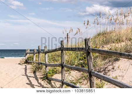 Wooden Fence on Sandy Pathway at Sandbridge