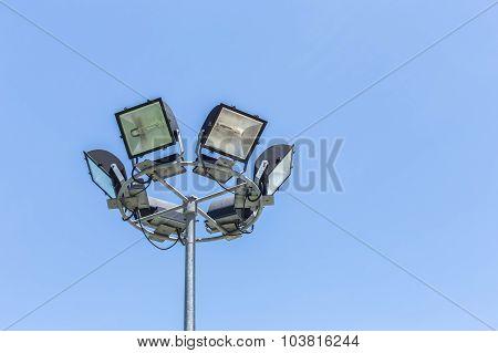 Spotlight, Stadium Lights On Blue Sky