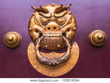Chinese Knocker On A Gate