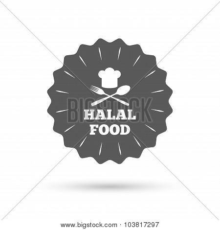 Halal food product sign icon. Natural food.