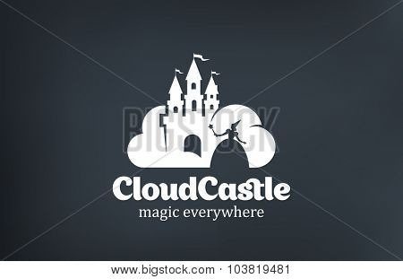 Vintage Magic Fairy Cloud Castle Logo design vector template.