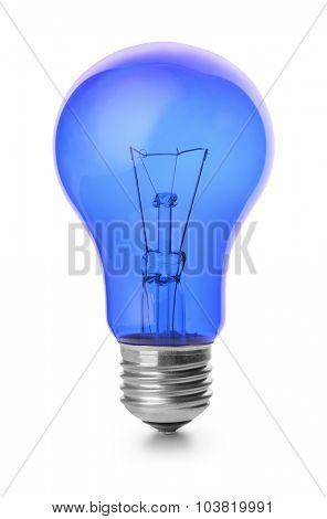 Blue light bulb isolated on white