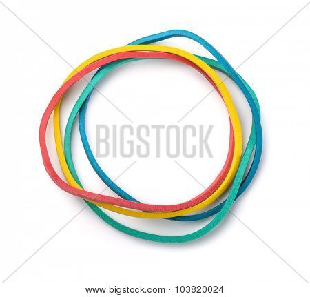 Top view of colorful rubber bands isolated on white
