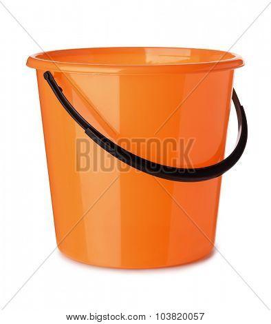 Orange plastic bucket isolated on white