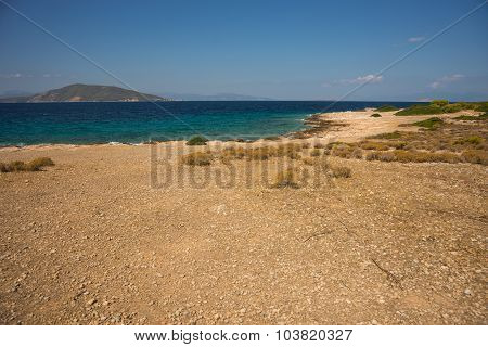 Sea Shore Of The Island Moni, Saronida, Greece