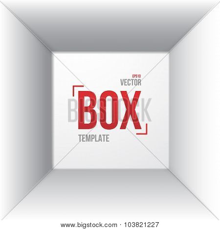 Photorealistic White Open Box Template Top View Mockup