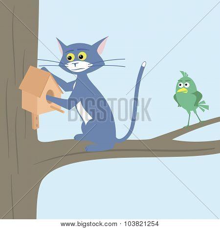 Cat catches the bird