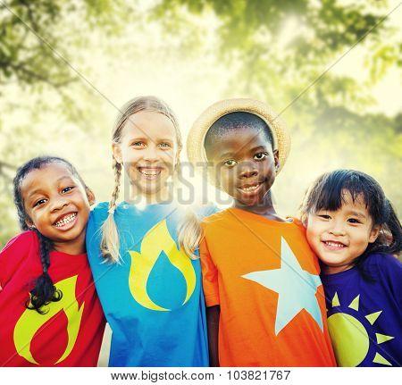 Children Friendship Togetherness Smiling Happiness
