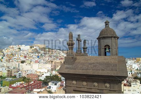 Las Palmas De Gran Canaria, View Towards  Risco De San Nicolas